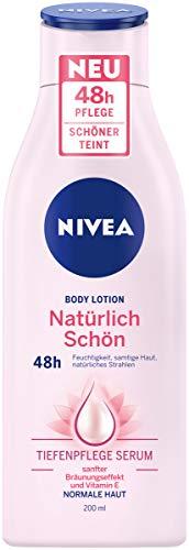 NIVEA Body Lotion Natürlich Schön (200 ml), Körperpflege Lotion für normale Haut mit Tiefenpflege Serum, 48h Pflege und sanfter Bräunungseffekt