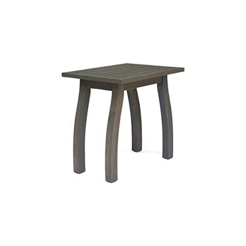 Sadie Outdoor Acacia Wood Accent Table, Gray Finish