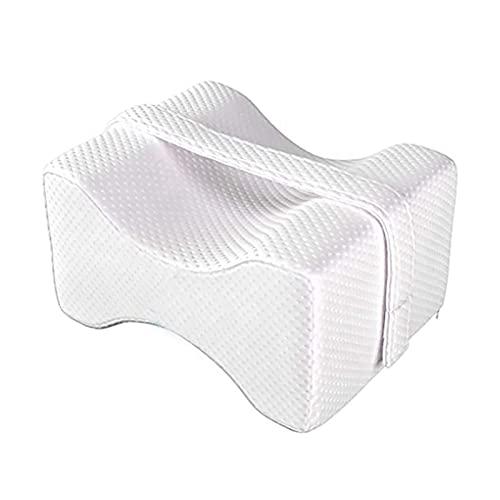 mengmeng home Almohada ortopédica para articulaciones de Rodilla, Espuma viscoelástica, Patas y pies de Goma hipoalergénica, ciática ergonómica, Dolor Lumbar, Embarazo (Blanco)