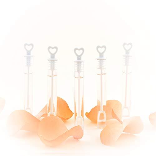 infinimo ® Set di Bolle di Sapone Premium Bianco - Set da 20, 50 e 96 Pezzi riempiti, con Maniglia a Cuore - per Matrimoni, Compleanni, Come Decorazione e Regalo