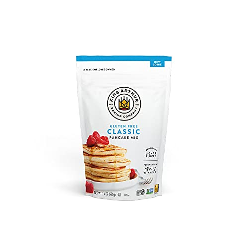 King Arthur, Gluten Free Classic Pancake Mix, Certified Gluten-Free, Non-GMO Project Verified, Certified Kosher, 15 Ounces (Pack of 6, Packaging May Vary)