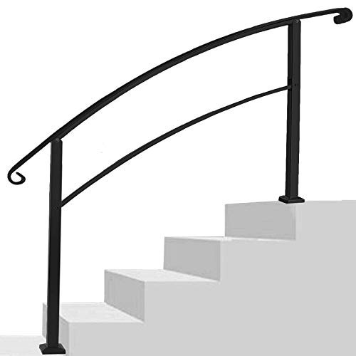 Handrails for Outdoor Steps,Black Outdoor Stair Railing 5 Step Stair Handrail 1 to 5 Steps Mattle Wrought Iron Handrail Stair Rail with Installation Kit