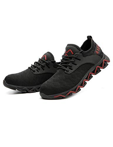Legou Unisex Stahlkappe Sicherheit Arbeitsschuhe Bequeme Industrie Konstruktion Sneaker für Damen und Herren, Schwarz - schwarz/rot Größe:38 EU