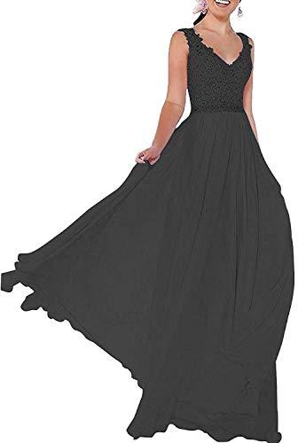 Beyonddress Damen Chiffon Abendkleider V-Ausschnitt Elegant Spitze Ballkleid Hochzeit Brautjungfernkleider Brautkleider(Schwarz,46)