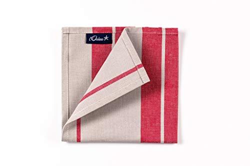 L'Océane 1 Lot de 6 Serviettes de Table 100% Coton 50x50cm ou 36x36cm Collection Itxassou (Rouge Cerise/Blanc) (Rouge 36 x 36 cm, 1)