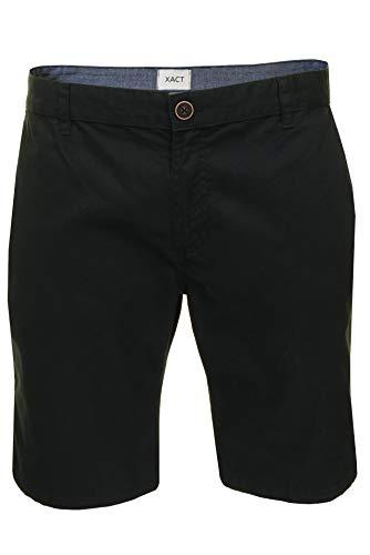 Xact Chino Shorts Mens Soft Feel Cotton Fashion Garment (Black) 32