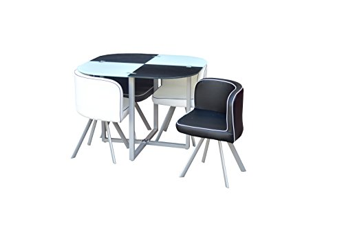 Space Saver Glass Table & 4 Chairs Black and White