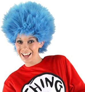 Dr Seuss Thing 1 Thing 2 Blue Fuzzy Wig For Women & Men