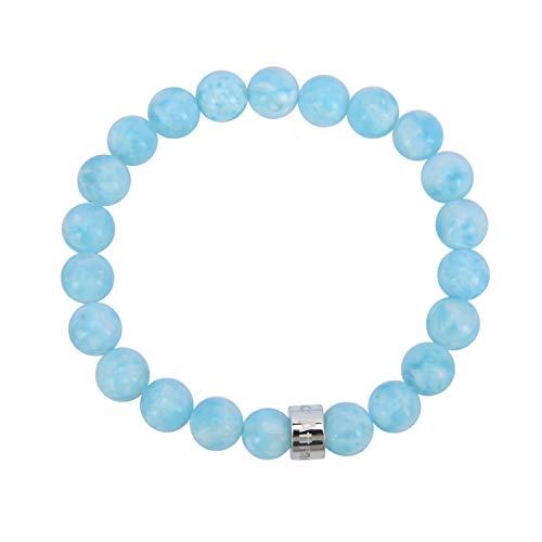 Attraction ZenTM – Intuition Bracelet – Natural Stones – Russian Hemimorphite – Stainless Steel Z Bead – Expandable Bracelet – Handmade – Stones 8 mm