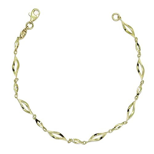 Pulsera de oro amarillo de 18k brillo para mujer con eslabones calados y ondulados. 19.00cm de larga y 4mm de ancha. cierre mosquetón. Peso, 2.05gr de oro de 18K.
