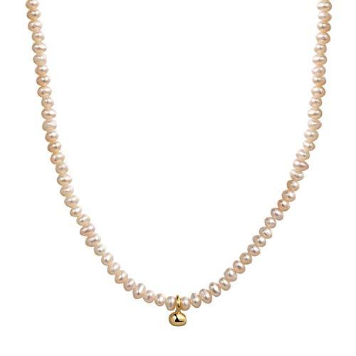 Collar de perlas pequeñas bolas barrocas collares para mujer oro blanco natural cultivado agua dulce mini bebé perla gargantilla