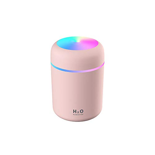 Colorful Cool Mini Humidifier,Essential Oil Diffuser Aroma Essential Oil USB Cool Mist Humidifier,2 Adjustable Mist Modes, Super Quiet,for Car,Office,Bedroom(Pink)