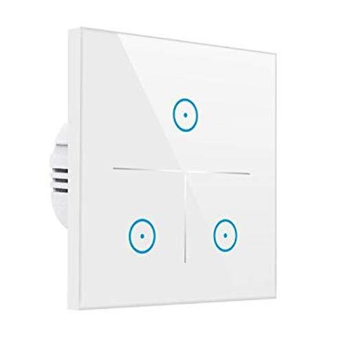 Smart Alexa Lichtschalter,MEAMOR WiFi Funk Touch Wandschalter Kein Hub erforderlich,Kompatibel mit Alexa/Google Assistant/Smartphone(3 Gang)