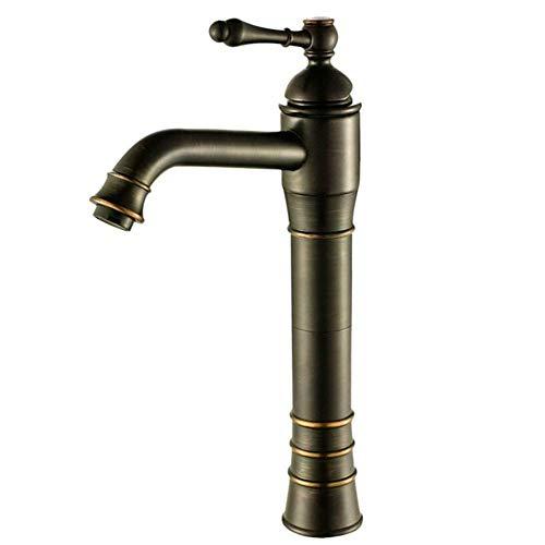 BOATX Schwarz Bad Armatur Hohe Waschtischarmatur Waschbecken Wasserhahn Einhebelmischer Mischbatterie Badarmatur Nostalgie Retro für Badezimmer aus Messing (Hoch)