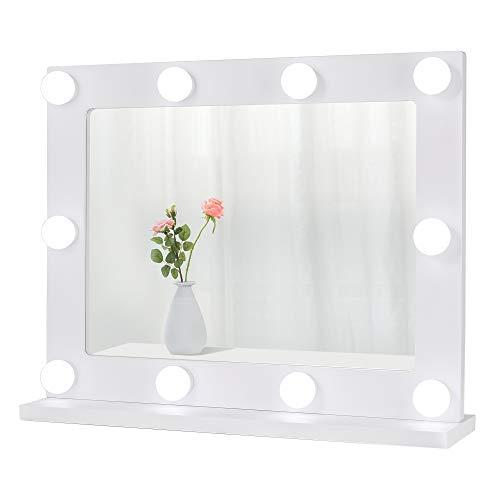 Waneway Hollywood - Espejo de peluquería con luces, espejo de maquillaje iluminado con 10 bombillas LED regulables, mesa o pared, color blanco