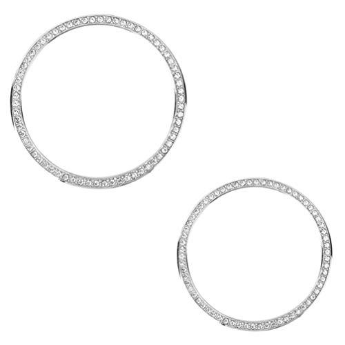 UKCOCO Anillo de Bisel de Reloj Compatible con Samsung Gear S3 / Samsung Galaxy Watch Alloy Shiny Crystal Diamonds Accesorios de protección para Mujeres/Hombres 2 Piezas (Plata)