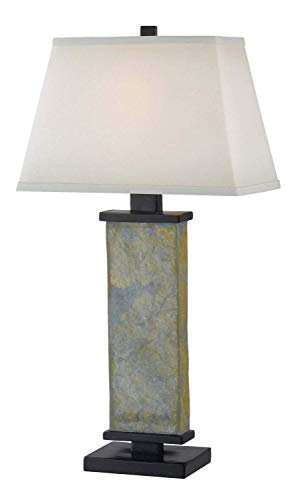 Kenroy Home Natural Slate Table Lamp, 29 Inch Height, White Rectangular Shade