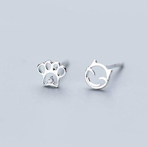 WOZUIMEI S925 Aretes de Hongos Blancos Estilo Coreano Dulce Gato Asimétrico Pendientes de Garra de Gato Linda MujerPendientes