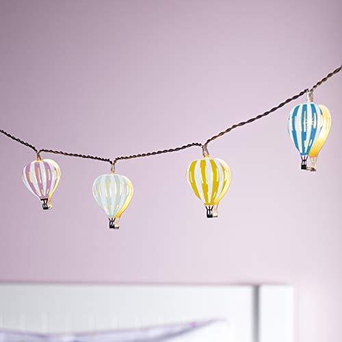 Lights4fun 12er LED Lichterkette mit Heißluftballons Kinderzimmer Batteriebetrieb