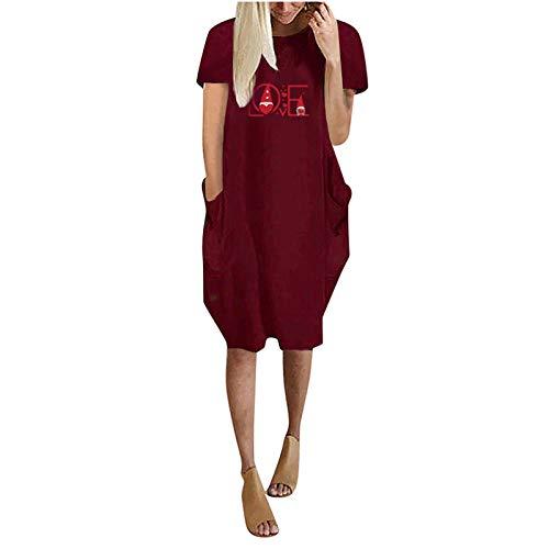 Kobay-Damen Bequem und Atmungsaktiv Sommermode-Liebesdruck der Frauen Lässiges Kurzarm-Taschenkleid mit rundem Hals Geschenke für Frauen