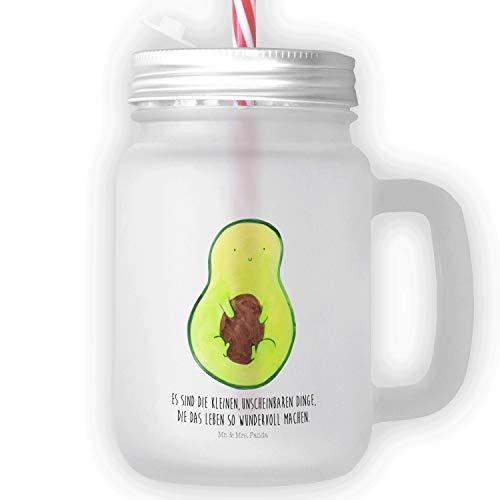 Mr. & Mrs. Panda Glas, Sommerglas, Mason Jar Trinkglas Avocado mit Kern mit Spruch - Farbe Transparent