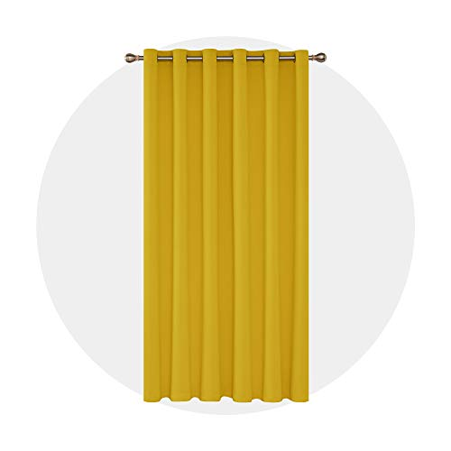 Deconovo Cortina Opaca para Ventana Dormitorio Juvenil Habitación Matrimonio Estilo Moderno Elegante 1 Pieza con Ojales 200 x 280 cm limón