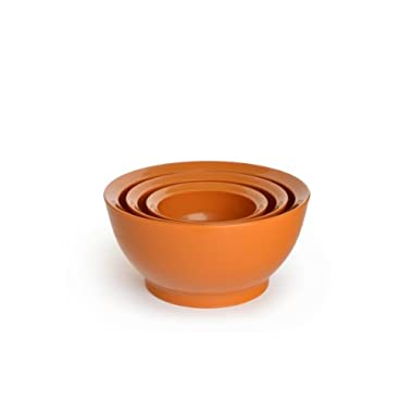 CaliBowl Ultimate Mixing Bowls with Non-Slip Base, Set of 3 Assorted Sizes, Orange