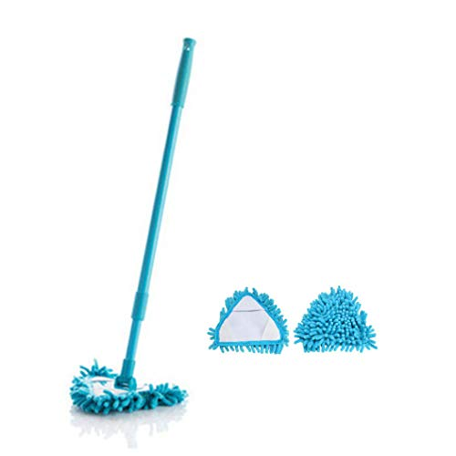 HULIJUAN 180 Degree Rotatable Adjustable Triangle Cleaning Mop Multifunctional Telescopic Microfiber Cleaning Mop with 3 Reusable Mop Heads Blue