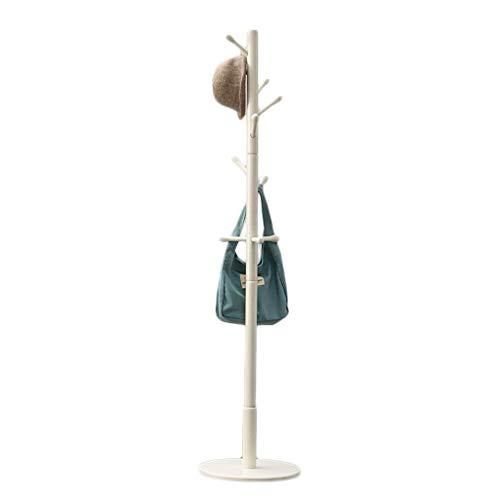 Coat Rack Solid Wood Coat Rack Easy Montaje con 10 Gancho de Gancho Piso Hogar Bolsa de Colgante Rack para Sala de Estar Dormitorio Hall Abrigo Stand (Color: Madera) (Color : White)