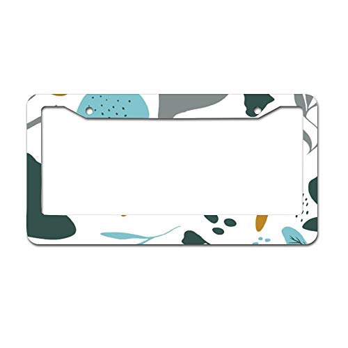 Retro Mosterd Blauw Bloemen Patroon Abstract Vormen Auto License Plaat Frame - Chrome Metaal Auto License Plaat Frame Tag Houder Frame Cover - 12