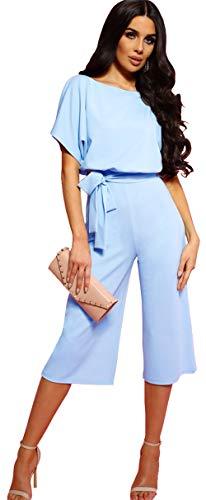 Longwu Mujeres Casual Elegante Cintura Alta Mono de Manga Corta Pantalones de Pierna Ancha Ocasionales Mamelucos Sueltos…