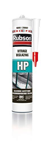 Rubson HP zwart, afdichtmiddel voor glazen, actieve siliconen afdichtstof, glaskit, beglazing, afdichtingen voor deuren en ramen, cartridge 300 ml