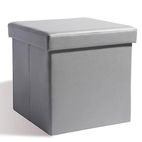 Theo&Cleo Sitzhocker mit Stauraum Sitzwürfel Sitzbox Aufbewahrungsbox mit Deckel Größe 38 x 38 x 38 cm Kunstleder Hocker Fusshocker Gepolstert Faltbar Fußhocker (Grau)