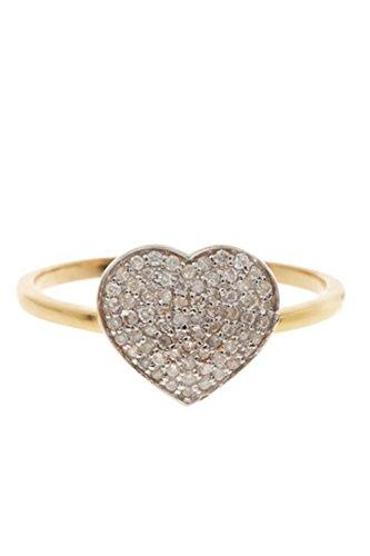 14K Gold White Diamond Love Ring, Pave Diamond Gold Ring (0.24 Ct Pave Diamond)