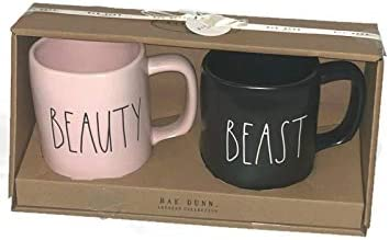 Rae Dunn by Magenta BEAUTY AND BEAST PINK BLACK MUG SET OF 2 product image