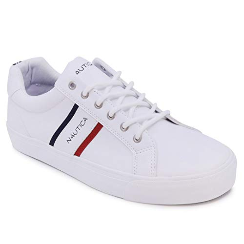 Nautica Men's Avary Casual Lace-Up Shoe,Classic Low Top Loafer, Fashion Sneaker-White-9.5