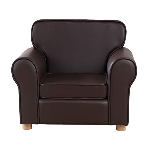 Big Kids Armchair,Upholstered PVC Baby Sofa Chair for Children 0-6 (Dark brown)