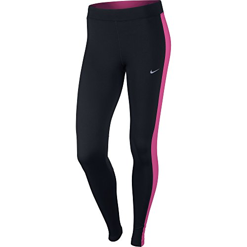 NIKE Damen Dry Fit Essential Tights Hose, schwarz - Black/Hot Pink/Reflective Silv, Gr. XS