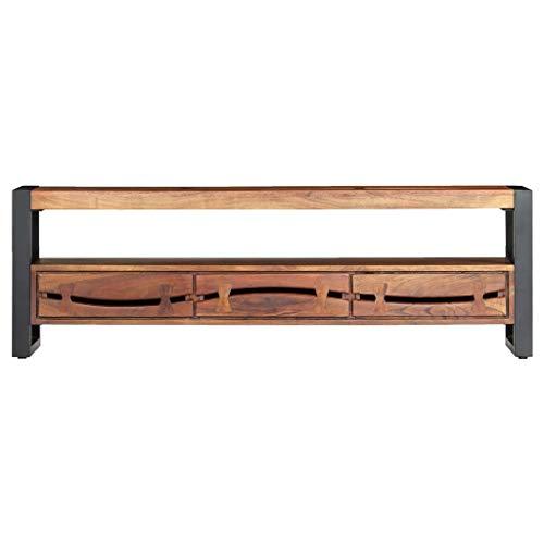 Tidyard Akazienholz Massiv TV Schrank mit 3 Schubladen 1 Fach Lowboard Fernsehtisch Fernsehschrank Sideboard HiFi-Schrank TV Möbel 140x30x45cm