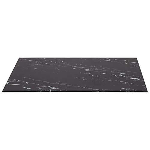 UnfadeMemory Tischplatte Glas Tischplatten ideal als Ersatzteil Glasplatte in Marmoroptik DIY Tisch für Esstisch Couchtisch Beistelltisch oder Gartentische(Rechteckig 100 x 62 cm, Schwarz)
