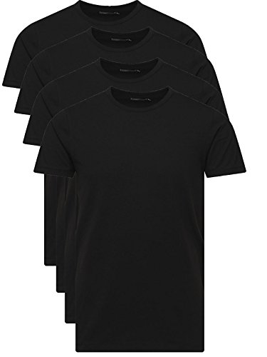 JACK & JONES Herren T-Shirt Basic 4er PACK O-Neck Tee (L, 4er O-NECK Schwarz)