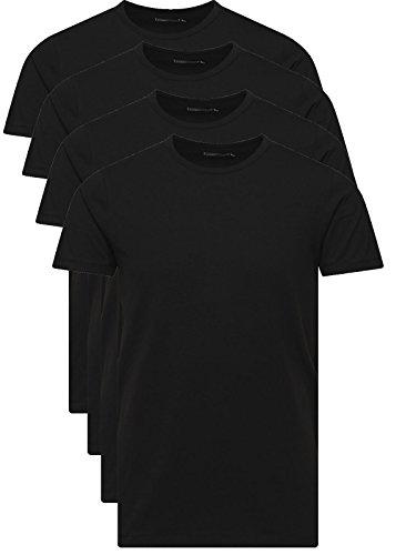 JACK & JONES Herren T-Shirt Basic 4er PACK O-Neck Tee (M, 4er O-NECK Schwarz)