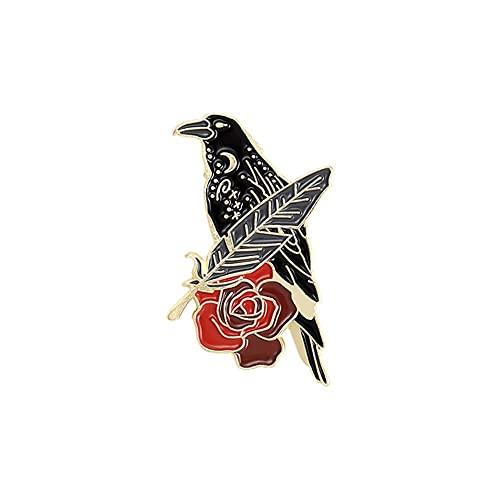 JIUDELE Pin de esmalte de cuervo cuervo personalizado pájaro pluma luna flores broche bolsa solapa Pin Punk insignia gótico joyería regalo para amigos