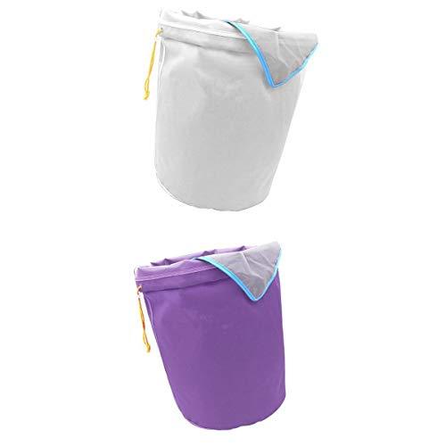Fenteer 2X Sacs de 5 Gallons Ice o Lator Bags pour Extraire Les Huile Sac d'Extraction, Blanc et Violet