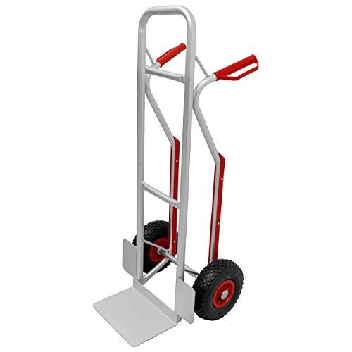 ECD Germany Sackkarre mit Treppenrutsche bis 150 kg - Stabiler Aluminiumrahmen - Gummi Luftreifen - PU Kunststoff Sicherheitsgriffe - Stapelkarre Transportkarre Transportwagen Treppenkarre Karre