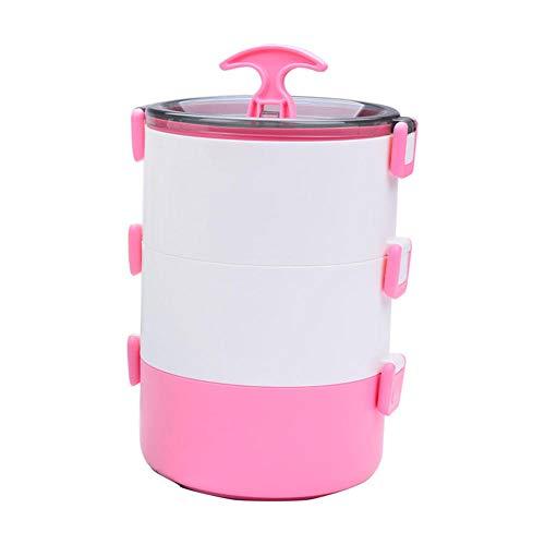 WJPL Tragbare Tresor Thermo Brotdose 3-lagig Lunchbox Auslaufsicher Edelstahl Stapelbar Bento-Box BPA-frei für Kinderschule und Erwachsenenbüro Reisen-Rosa_3-lagig-MA-04