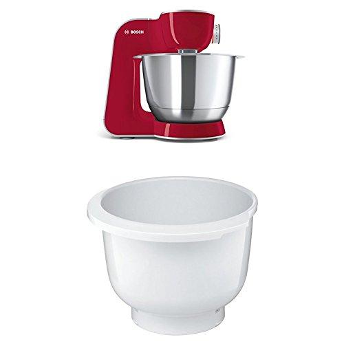 Bosch MUM58720 Küchenmaschine CreationLine, 1000 W, 3,9 l Edelstahl-Rührschüssel, 3D Rührsystem, 7 Schaltstufen, dunkle rot/silber + MUZ5KR1 Kunststoff-Rührschüssel für Küchenmaschine Mum5