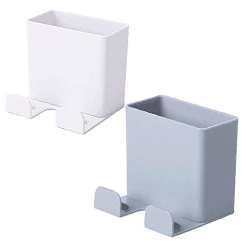 2 Unids Pared Adhesivo Celular Teléfono Inteligente Estante Cargador Soportes Soportes Control Remoto Soporte Organizador Caja Almacenamiento para Oficina Baño