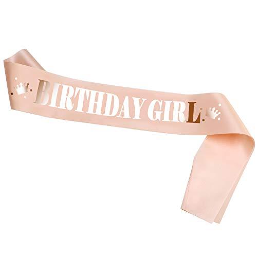 Konsait Rose Gold Geburtstag Schärpe, Birthday Girl Schärpe Party Zubehör Dekoration für Frau Mädchen 16. 18. 21. 22. 30. 40. Geburtstag Jubiläum Accessoires Geschenk