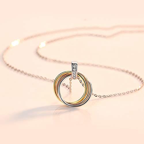 Hong Yi Fei-Shop Collar Círculo de Tres Anillos de múltiples Capas Colgante Collar de la clavícula Collar de Cadena de Plata esterlina de 18' para Mujeres niñas